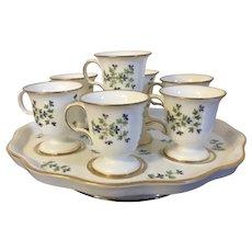 Antique 18th century French Empire Old Paris Porcelain Dihl et Guerhard Sprig Cornflower Pot de Creme Custard Cups & Stand 1790 - 1800 Tasse a Glace