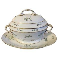 Very Large Antique 18th century French Empire Old Paris Porcelain Dihl et Guerhard Sprig Cornflower Soup Tureen and Platter 1790 - 1800
