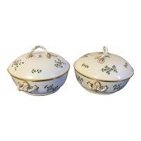 Pair Antique 18th century French Empire Old Paris Porcelain Dihl et Guerhard Sprig Cornflower Tureens or Covered Serving Bowls 1790 - 1800