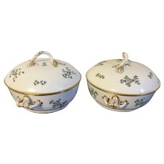 Pair Antique 18th century French Empire Old Paris Porcelain Dihl et Guerhard Sprig Cornflower Tureens or Covered Serving Bowls 1790 - 1800