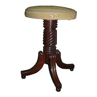 Antique Early 19th c. American Federal Mahogany Piano Stool in Classical Taste with Petit Point Seat - 1820