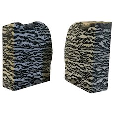 Large Pair Exotic Specimen Stone Blocks or Bookends Zebra Marble