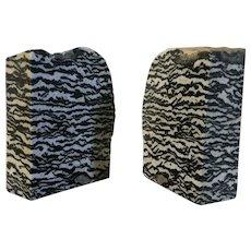 Large Pair Exotic Specimen Stone Blocks or Bookends Zebra Marble
