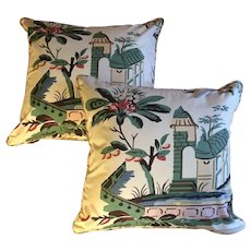 Pair Vintage Custom Made Chintz Pillows in Art Deco Chinese Chippendale Pattern with Flowers and Pagodas