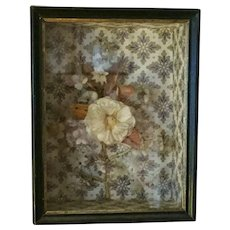 Antique 19th century French Victorian Wall Paper Shadow Box with Fancy Work Dimensional Flower
