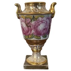 Antique Early 19th century English Regency Coalport Porcelain Urn Vase Decorated with Hand Painted Flowers and Rich Gilding