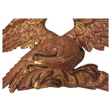 Large Antique Early 19th century American Federal Carved and Gilt Wood Eagle Pediment 1810 - 1820