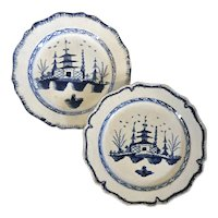 Pair Antique 18th century English Pearlware Creamware Plates Decorated in the Chinese Taste with Blue & White Landscape within a Feather Edge Border