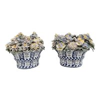 Pair Antique 18th / 19th century Continental Delft Tin Glaze Faience Pottery Demilune Flower Baskets