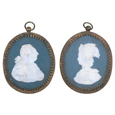 Pair Antique 18th century French Biscuit Porcelain Portrait Medallion Plaques King & Queen of France in the Wedgwood Jasperware Manner Possibly Sevres