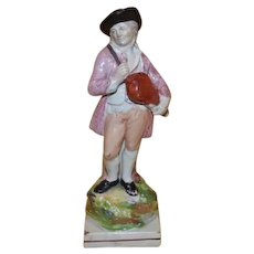 Antique early 19th century English George III Staffordshire Pearlware Figure of a Musician Playing the Hurdy-gurdy 1800