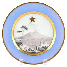 Antique Early 19th century Grand Tour French Empire Paris Porcelain Plate with Hand Painted Landscape Scene of Mount Vesuvius in Naples, Italy