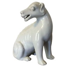 Antique 19th century Chinese Monochrome Blanc de Chine Porcelain Figure of a Hound or Dog