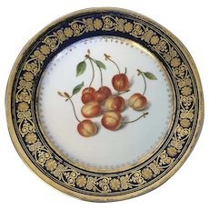 Antique Early 19th century French Empire Paris Porcelain Botanical Plate with Hand Painted Cherries by Foesey, Passage Violet No. 5 circa 1820