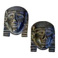 Pair Antique 19th century Regency Bronze Egyptian Revival Masks of Pharaoh