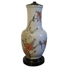Large Chinese Porcelain Vase Decorated with Peony Branches and Song Birds Mounted as a Lamp - Early 20th century