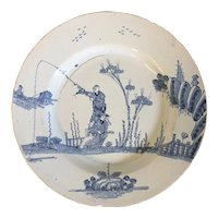 Antique 18th century English Delft Blue & White Tin Glaze Faience Charger Platter in the Chinese Kangxi Taste 1740 - 1760
