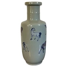 Antique 19th century Chinese Porcelain Rouleau Shape Celadon Glaze Vase Decorated with Horses in the Kangxi Manner