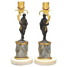 Fine Pair English Regency Patinated & Gilt Bronze Figural Candlesticks of Robed Turkish Ladies Standing on Gray and White Marble Column Bases 1810 - 1820