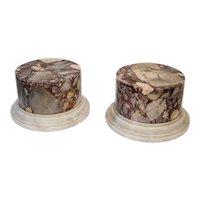 Pair Antique 19th century Italian Grand Tour Specimen Marble Column Pedestals