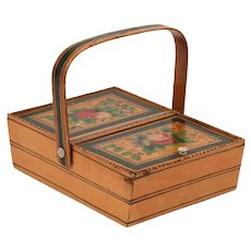 Antique Early 19th century English Regency Satinwood Sewing Desk Box Paint Decorated with Basket of Flowers 1820