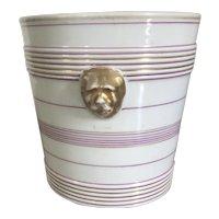 Antique 19th century French Empire Paris Porcelain Cachepot Planter Vase with Lion Mask Handles