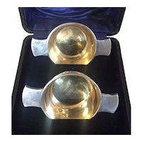 Pair Antique English Edwardian Quaich Form Silver Salt Cellars by George Unite Hallmarked Birmingham in Original Presentation Case