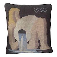 Wool 1930's Art Deco Needlepoint Pillow Rockwell Kent Design
