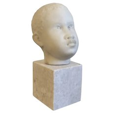 Antique 19th century Carved White Marble Bust Sculpture of a Young African American Boy Mounted on a Conforming Plinth