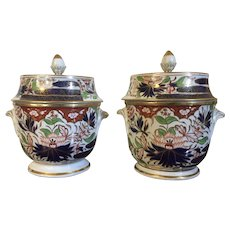 Pair Antique Early 19th century Coalport Imari Porcelain Fruit Coolers or Ice Pails in the Thumb & Finger Pattern 1805 - 1810
