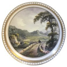 Antique Early 19th century Spode Porcelain Dresser Patch Box - 1810 - with Hand Painted Landscape