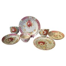 Collection of 7 Pieces Early 19th c. King's Rose English Staffordshire Pearlware Tea Cups, Plates & Saucers