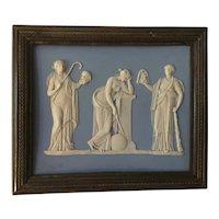 Antique 18th century English Georgian Solid Light Blue Wedgwood Jasperware Neoclassical Plaque of Urania & Muses in Bronze Frame