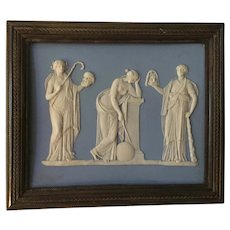 Antique 18th century English Georgian Solid Light Blue Wedgwood Jasperware Neoclassical Plaque of Urania & Muses in Bronze Frame