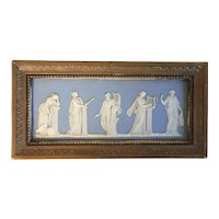 Antique 18th century English Georgian Solid Light Blue Wedgwood Jasperware Neoclassical Plaque of the Greek Muses in Gilt Wood Frame