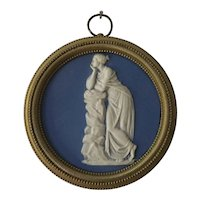 Antique 19th century English Regency Light Blue Wedgwood Type Jasperware Neoclassical Round Plaque of Melpomene, the Muse of Tragedy in Bronze Frame