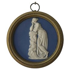 Antique 19th century English Regency Light Blue Wedgwood Type Jasperware Neoclassical Round Plaque of Urania in Bronze Frame