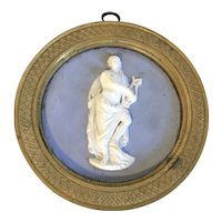 Antique 19th century English Regency Solid Light Blue Wedgwood Type Jasperware Neoclassical Round Plaque of Apollo in Bronze Frame