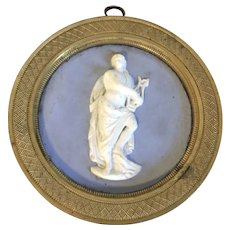Antique 19th century English Regency Solid Light Blue Wedgwood Type Jasperware Neoclassical Round Plaque of Apollo in Bronze Frame