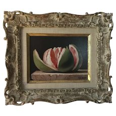 Ronald Lee Anderson (1929 - 2002) Fruit Still Life Oil Painting on Board - Study of a Grapefruit in Carved Giltwood Heydenryk Frame