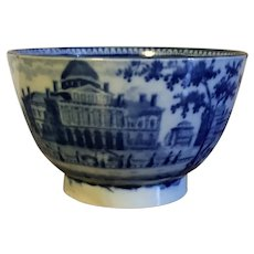 Antique Early 19th century English Staffordshire Pearlware Historical Blue Transferware Tea Cup Bowl Boston State House Beacon Hill 1820