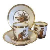 Pair Antique Early 19th century French Empire Paris Porcelain Coffee Cans & Saucers - La Courtille circa 1805