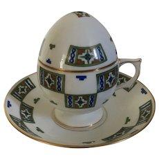 Kornilow or Kornilov Brothers Tsarist Porcelain Imperial Russian Egg Tea Cup, Cover & Saucer Pre-Revolution 1900 - 1910