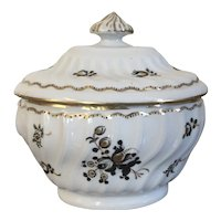 Antique 18th century English George III Worcester Porcelain Sugar Bowl or Box in Brown Sprig
