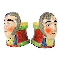 Pair Antique Early 19th century English Regency Staffordshire Pearlware Sash Window Stops / Rests - Duke of Wellington Busts 1820