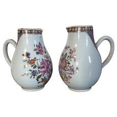 Pair Antique 18th century Chinese Export Porcelain Sparrow Beak Cream Jug Creamer in Famille Rose Palette