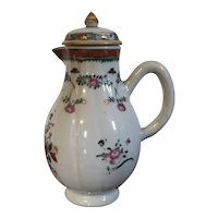 Antique 18th century Chinese Export Porcelain Melon Form Sparrow Beak Cream Jug Creamer in Famille Rose Palette