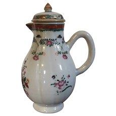 Antique 18th century Chinese Export Porcelain Melon Form Sparrow Beak Cream Jug Creamer in Famille Rose Palette