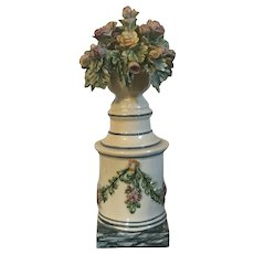 Antique Early 19th century English Staffordshire Pearlware Creamware Flower Topiary Trophy Urn on Column 1810