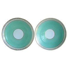 Large Pair Antique 19th century English Minton Porcelain Ribbed Turquoise Low Bowls or Serving Plates 1850